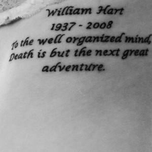 My tattoo dedicated to my acting coach.